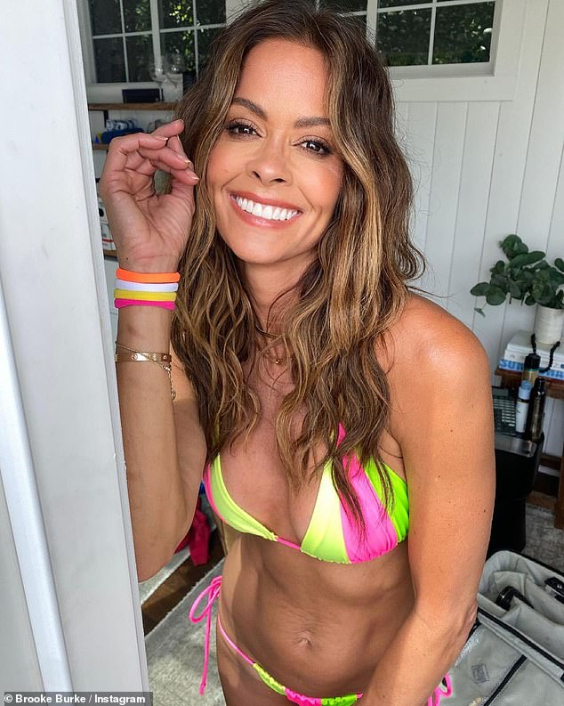 Oh mama! Brooke Burke showed off her incredible figure in a colorful bikini this weekend while at home in Malibu