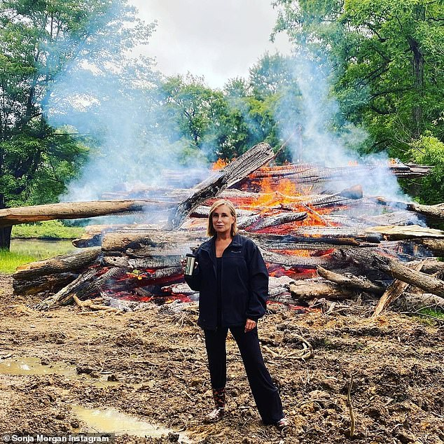 From VA:Sonja Morgan from RHONY was seen in Virginia with a burning wood pile.'In #Virginia with family for the #MemorialDay weekend. Where are you guys?' she said