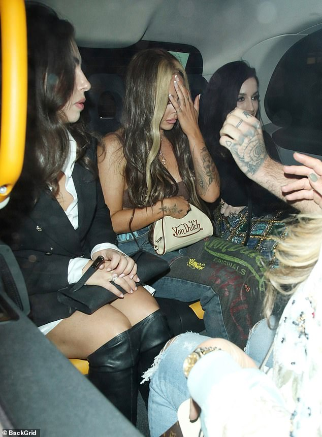 Home time:Jesy Nelson looked like she's had a great night out in a skimpy bralette as she exited swanky London eatery MNKY HSE with girlfriends on Saturday