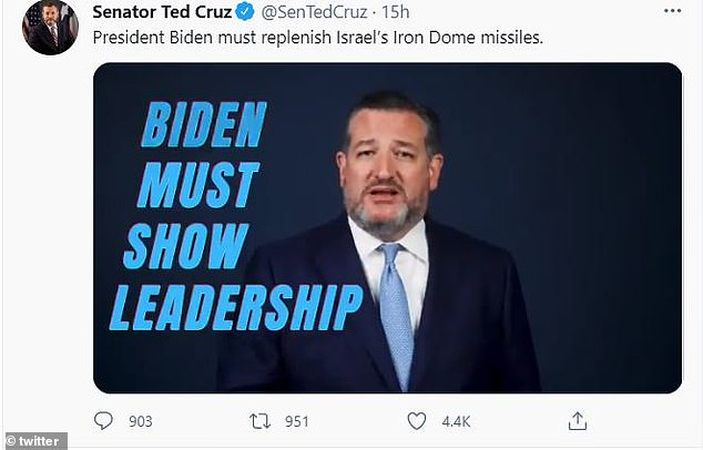 Cruz is calling on Biden's administration to immediately replenish Israel's Iron Dome missile system