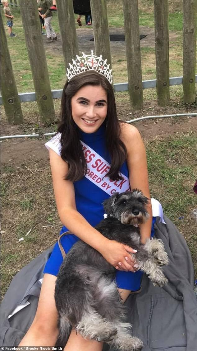 Brooke, who began her degree in paediatric nursing at the University of Suffolk, has been successful in several national beauty pageants, including Miss Norwich in Miss Great Britain, Miss Suffolk (pictured), and Miss Universe 2020
