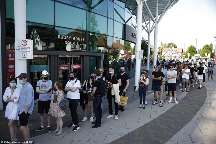 Thousands of people raced to a major walk-in vaccination centre at Twickenham Stadium yesterday afternoon after it opted to open up the jab offer to anyone aged over 18 in order not to waste doses, leading to lengthy queues in South West London