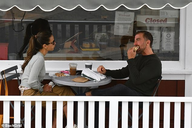 Snacks: They sat down at a bistro table and indulged in breakfast treats before heading off with their to-go beverages