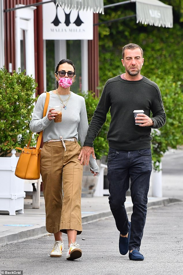 Lovers in LA: Jordana Brewster looked completely at ease on a morning coffee date with boyfriend Mason Morfit in Brentwood on Monday morning