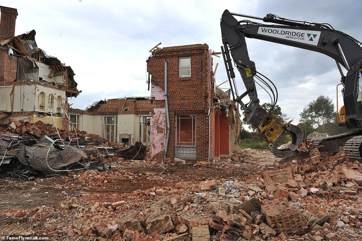 Demolition work began in 2015 after bats that had been roosting in the roof were found a new home, and planning permission for a new property was granted