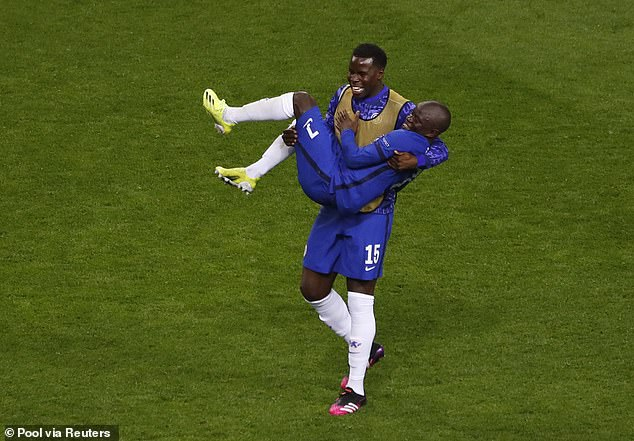 Kurt Zouma lifted N'Golo Kante up so he could be seen in the Champions League final celebrations