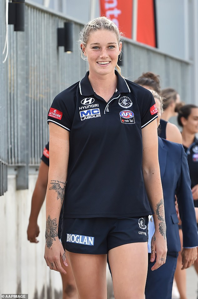 High-profile AFLW player Tayla Harris (pictured in March 2019) is no certainty to find a new club during the competition's trade period. The three-time All-Australian is on the outer at Carlton, with the Blues baulking at Harris' demand for a new lucrative contract