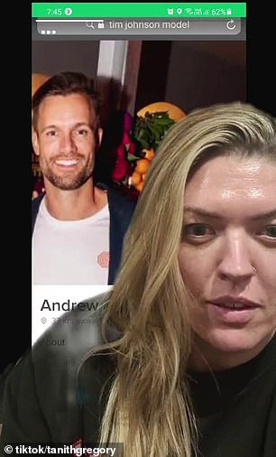 Tanith Gregory called out a fake profile of self-described 'fun and loyal' Andrew on TikTok