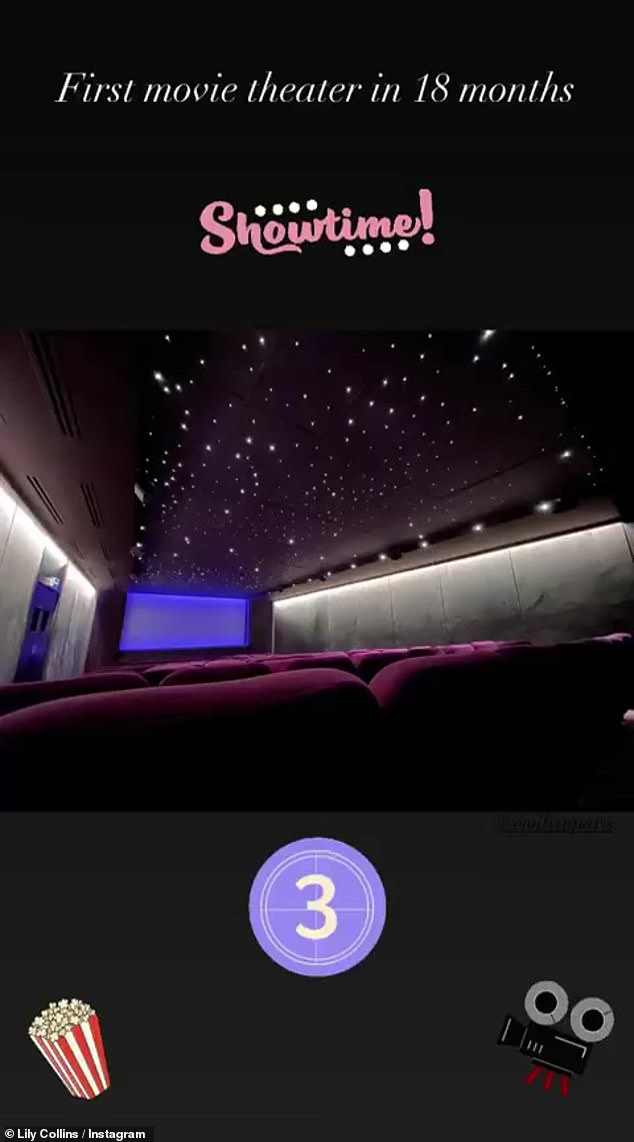First theater:'First movie theater in 18 months,' she said in the caption of her Instagram story post, though she did not reveal what movie she went out to see