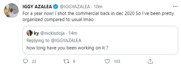 Hard at work:Meanwhile, when a fan asked her how long had she been working on the fragrance for, she answered: 'For a year now! I shot the commercial back in December 2020'