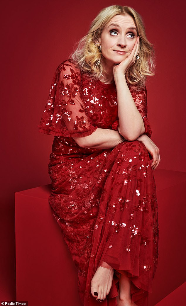 Stunning: Shameless starAnne-Marie Duff was a vision in red for the shoot yet went for a more casual look by shedding her shoes