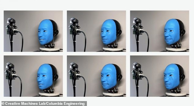 Eva is seen here during the training phase - making facial expressions at random while recording them on a camera