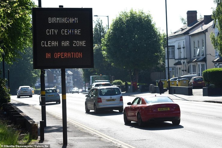 Signs warning drivers they are entering the Clean Air Zone on Hagley Road in Birmingham this morning - though they won't be charged the £8-a-day fee for the first two weeks