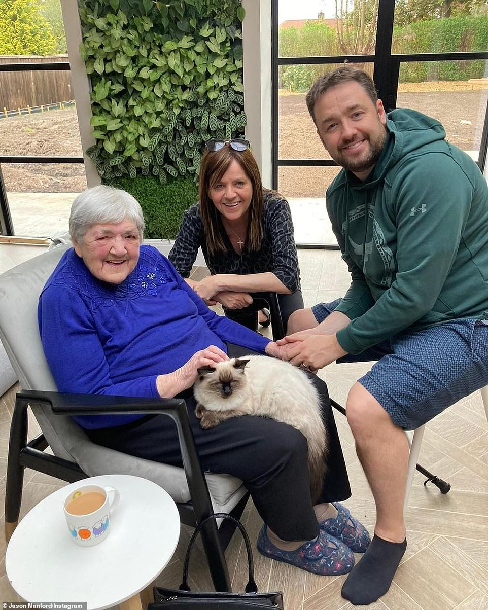 'Hoping to make up for lost time!' Earlier this month Jason gave his nan the 'biggest cuddle' as he joined stars marking lightened lockdown rules