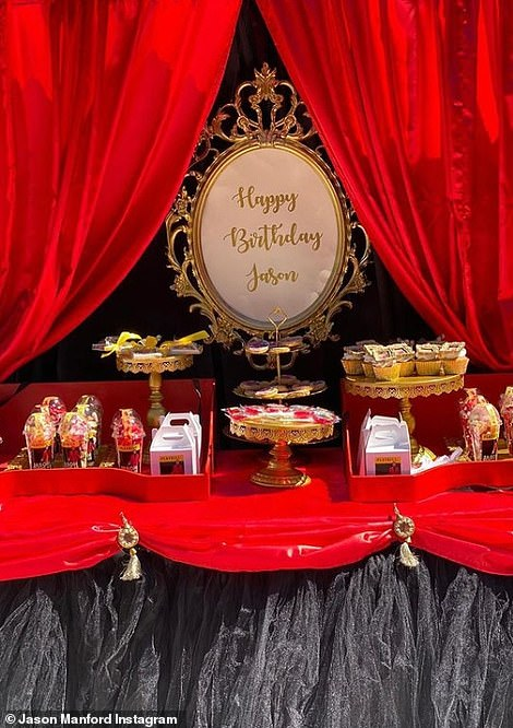 Tasty: An incredible spread of cakes and treats were laid out on a red velvet table