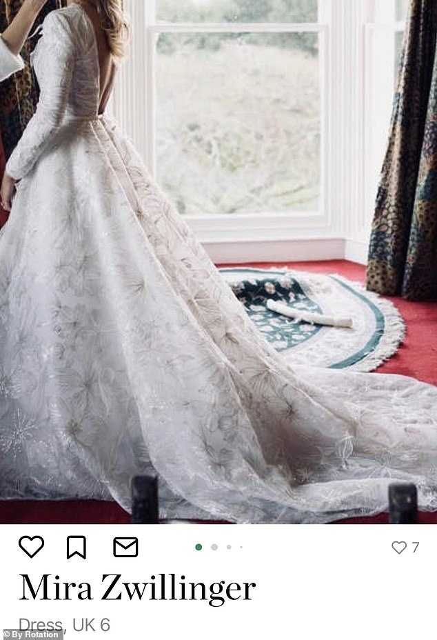 Mira Zwillinger's Stefania wedding dress, which retails for £ 12,000, can be rented for two days for £ 400 per day