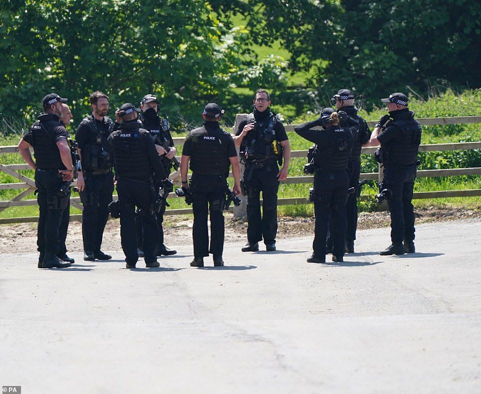 Boulton is believed to have attacked an off-duty police officer in the market town today. The officer suffered non-life threatening injuries. Pictured: Police at the scene