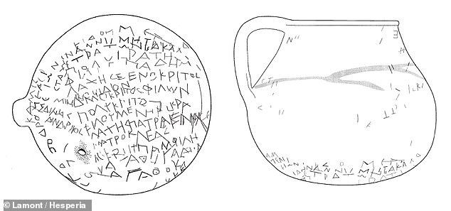 A ceramic jar covered in inscriptions and filled with the bones of a dismembered chicken may represent an curse made 2,321 years ago, a study has concluded. Pictured: an illustration of the pot and its text as seen from one side (right) and underneath (left)