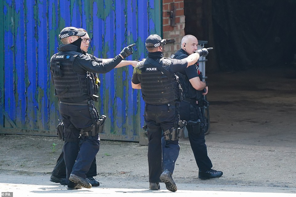 Armed police were seen at Hallington House Farm on the outskirts of Louth, Lincolnshire, after a man was detained