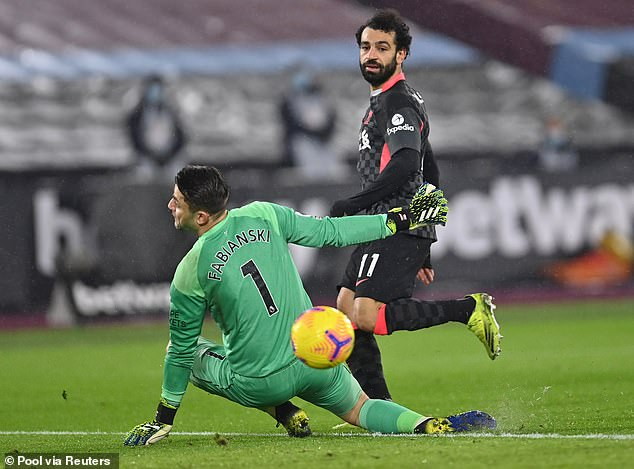 Mo Salah's deft touch and finish for Liverpool against West Ham in January is on the shortlist