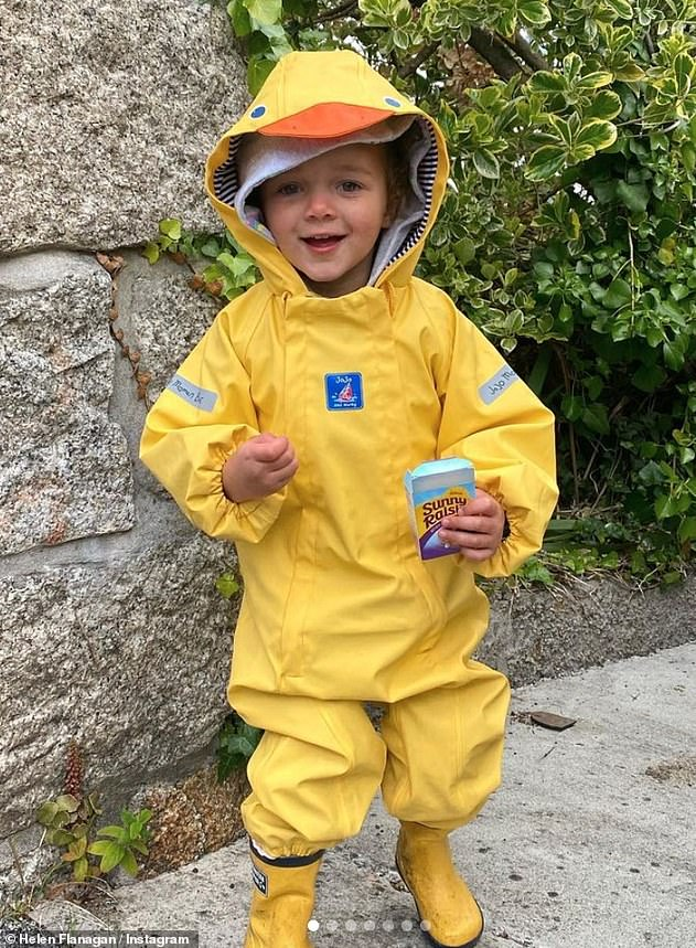 Quack Quack:Not to be outdone on the cuteness factor, Delilah posed in a solo snap wearing a hilarious yellow duck outfit and wellies
