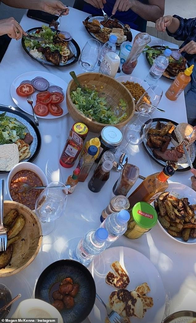 Tasty: Megan prepared an impressive outdoor feast for her friends which included steak, potato wedges, salad and halloumi, served with a mixture of condiments including hot sauce