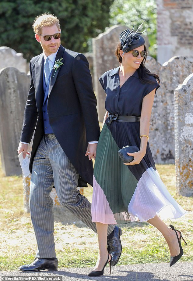 Best man duties: Prince Harry acted as Charlie's best man at his wedding to Daisy, a society wedding and party videographer who runs a company with her sister Kitty, on August 4, 2018 in Frensham, Surrey - also Meghan's 37th birthday. Pictured, the couple at the wedding