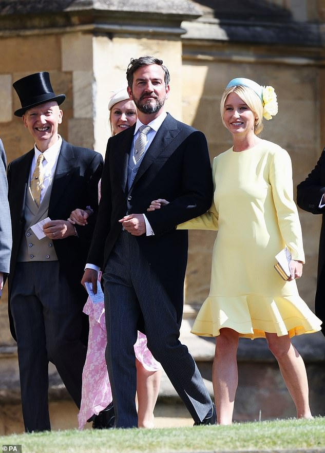 Isabel May donned a lemon-coloured dress as she was spotted linking arms with Markus Anderson as she arrived at Archie's Christening on July 5, 2019