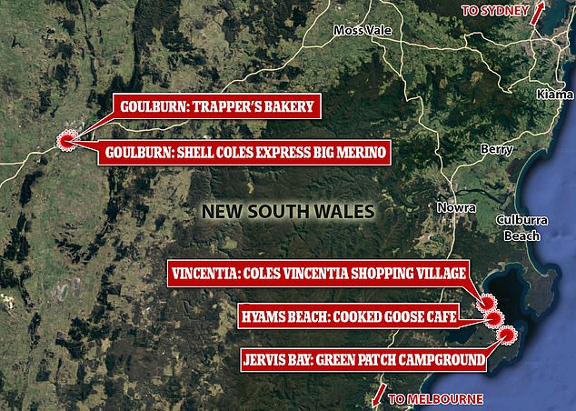 The confirmed case was in Jervis Bay, Goulburn, Hyams Beach and Vincentia while potentially infectious on May 23 and 24