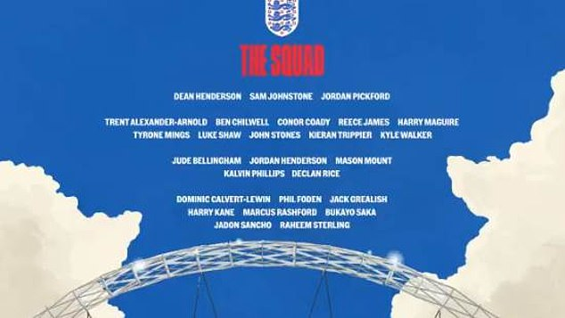 England released Gareth Southgate's 26-man squad for the tournament on Tuesday