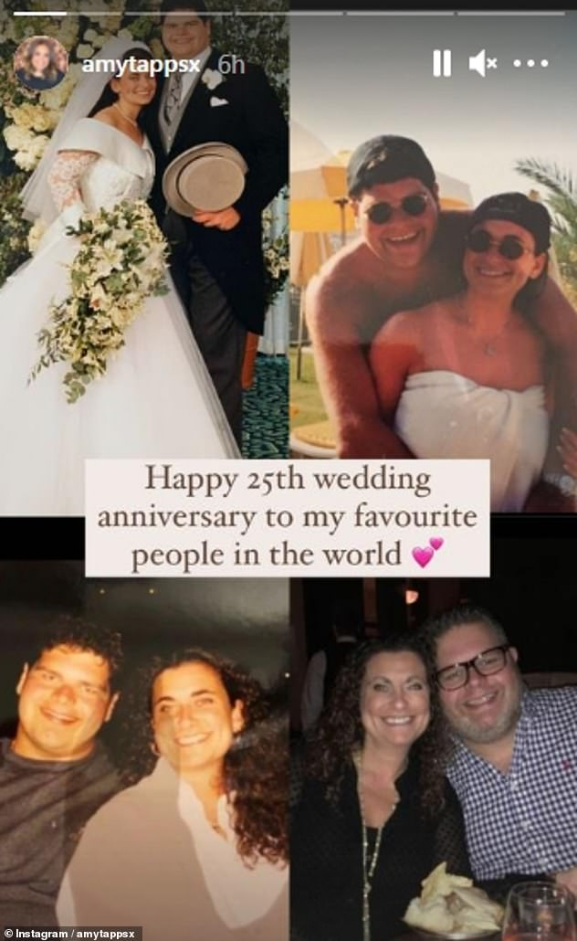 Congratulations! Amy wished her parents Jonathan, 53, and Nikki, 48, a happy silver wedding anniversary in her Instagram Story last week as they reached 25 years