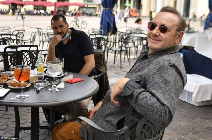 Kevin Spacey was pictured Tuesday in Turin, Italy, where he is making a return to the big screen in a low budget Italian film about a wrongly-accused paedophile