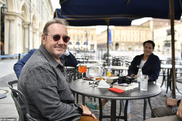 Spacey was all smiles as he sat down for afternoon drinks at a café in the heart of Turin on Tuesday