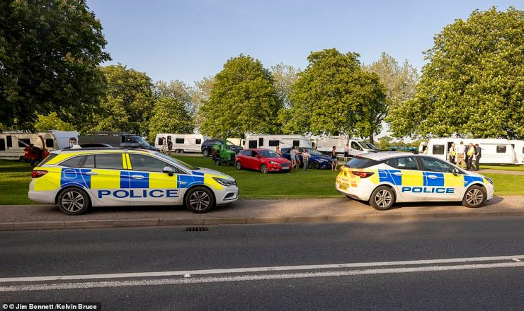 Police earlier arrived at the Long Walk to talk to the travellers who arrived at the famous site at Windsor Great Park