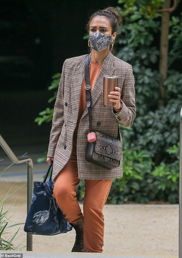 Ready for business: Jessica Alba, 40, was seen arriving at her $1.4Billion Honest company headquarters in Santa Monica on Tuesday