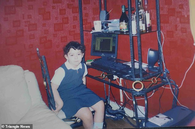 Every Sunday when Yasemin was young he would come over for family dinner, and invite her to go on the computer upstairs where he would carry out his abuse. Pictured: A young Yasemin at her computer