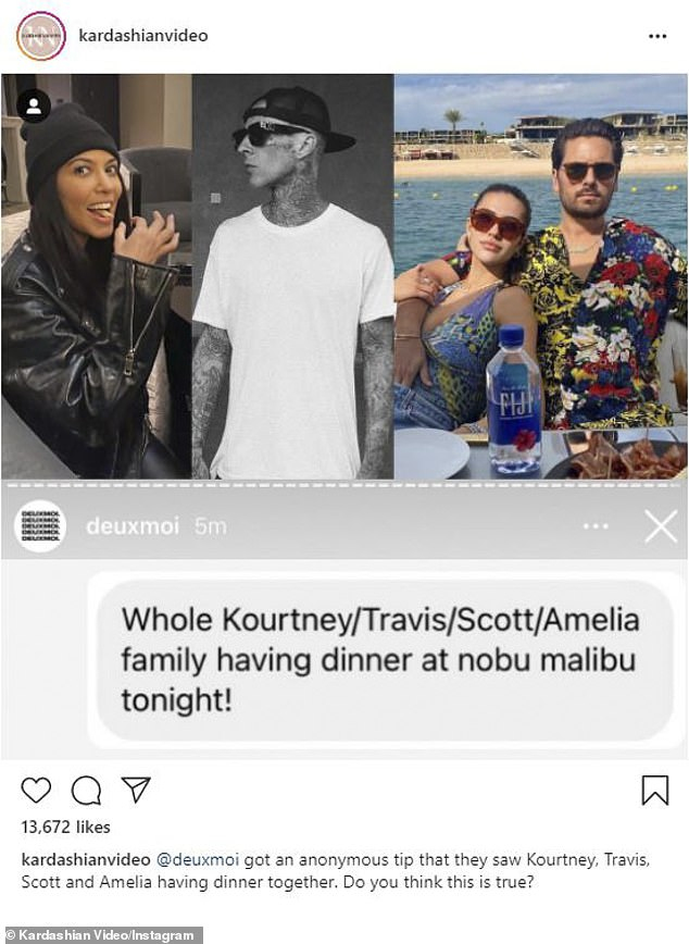 Awkward dinner: An anonymous tipster reported spotting the two couples all dining together at Nobu which was reposted to @kardashianvideo where Barker 'liked' a snarky comment