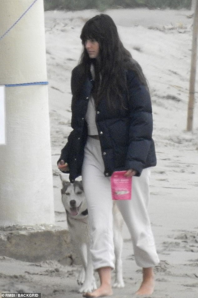 Lovebirds:The 46-year-old Academy Award-winner was seen strolling along the beach in Malibu on Monday with his girlfriend Camila Morrone, 23