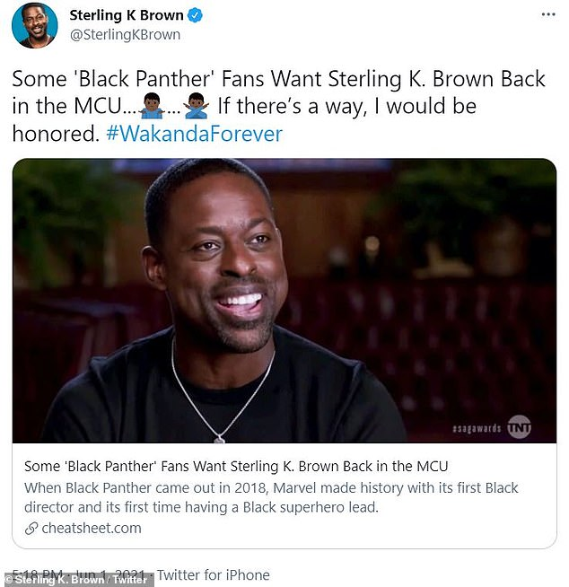 Retweeted:The This Is Us star retweeted a CheatSheet article entitled, 'Some Black Panther Fans Want Sterling K. Brown Back in the MCU'