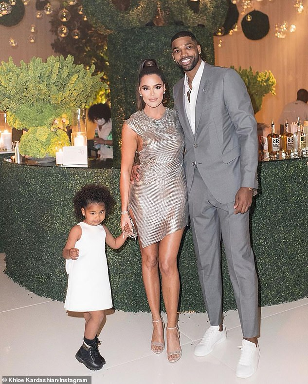 March 13 family portrait: Khloé previously split with Thompson - with whom she has three-year-old daughter True (L) - in February 2019 following his three, highly-publicized cheating scandals