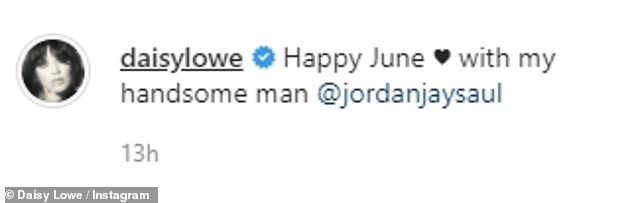 Happy:Taking to Instagram to share the sweet selfie, the model, 32, penned: 'Happy June ♥️ with my handsome man @jordanjaysaul'