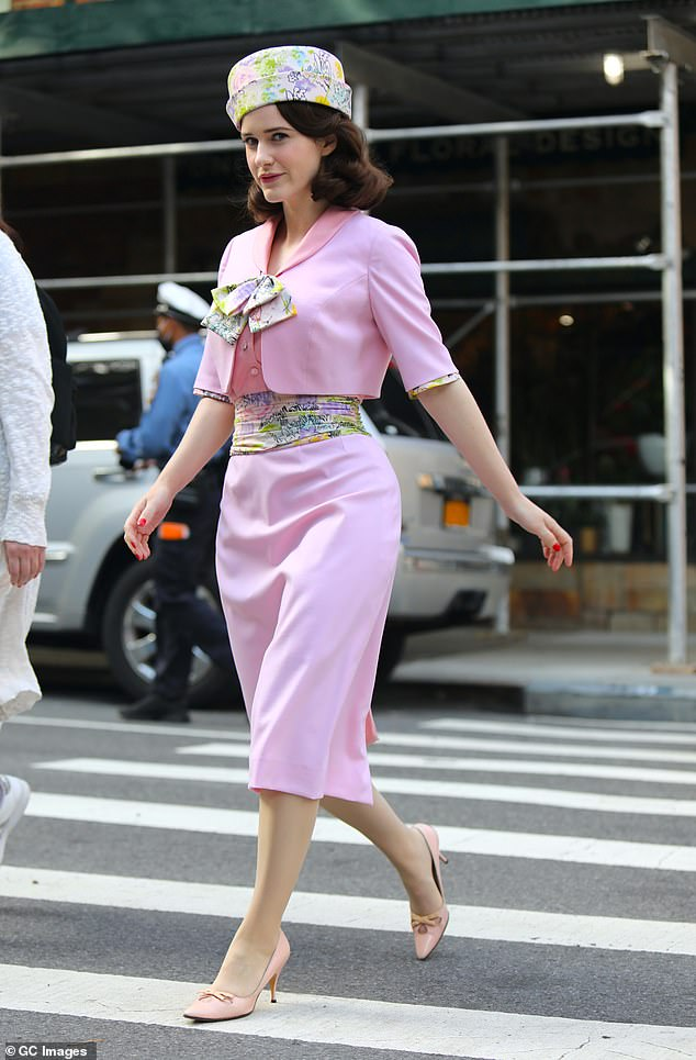 Walk this way:The actress, 30, sauntered through the Big Apple in her 1950s outfit as she filmed new scenes for the hit Amazon Prime show