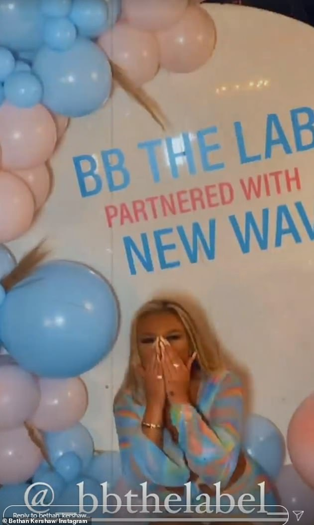 Proud: Bethan couldn't hide her excitement as she celebratedthe launch of her new BB THE LABEL clothing range