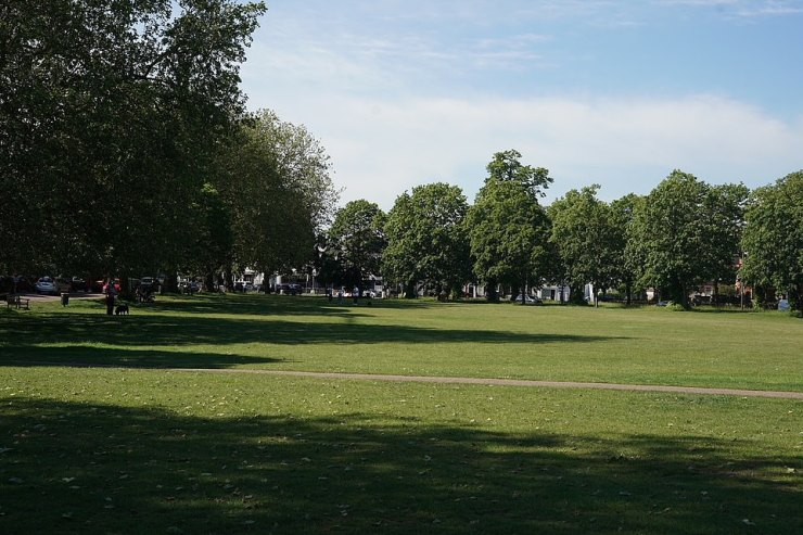 Kew Green looked almost entirely deserted this morning following the departure of the group last night