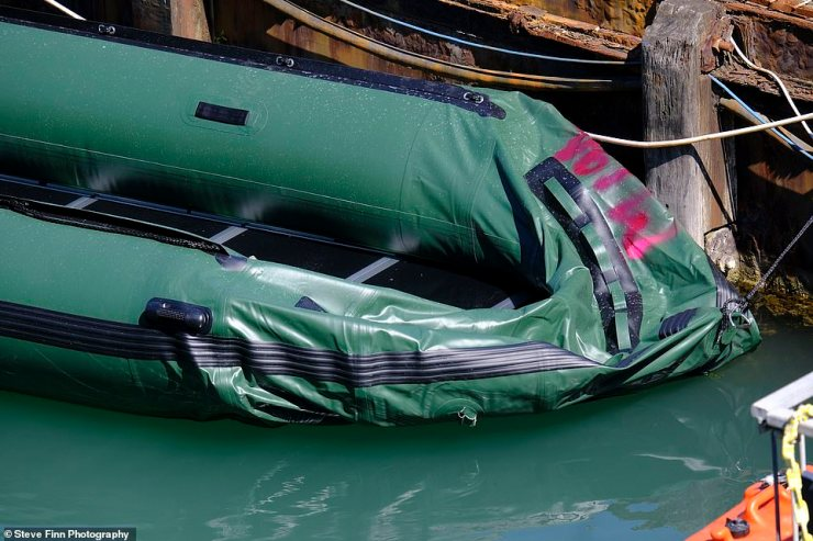 A dinghy is pictured at Dover Marina yesterday following the Channel crossing by an estimated 200 migrants