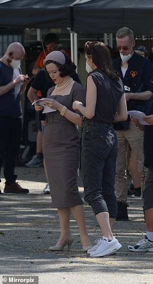 On set: At one moment Claire appeared to be going through her script while off camara