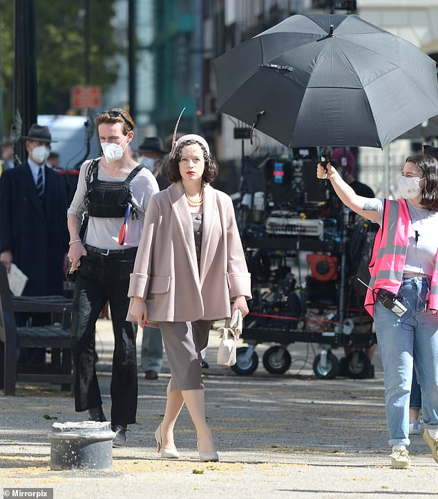 First day!Claire Foy was seen arriving on the set of A Very British Scandal as she filmed the first scenes of the new BBC drama on Tuesday