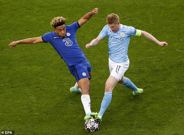 Reece James tackles Kevin De Bruyne during Chelsea's Champions League final victory