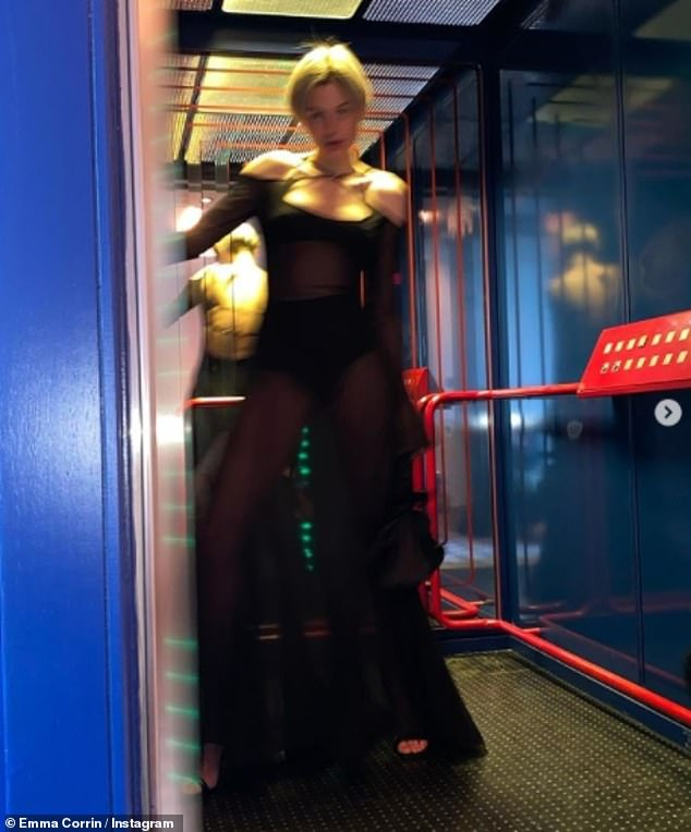 Wow!Her latest post comes after Emma slipped into a sheer black gown to attend a birthday dinner for stylist friend Harris Reed (pictured)