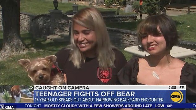 Morinico's mom (left) also appeared on the morning program and said she was 'horrified' by the footage of her daughter's brush with the brown bear